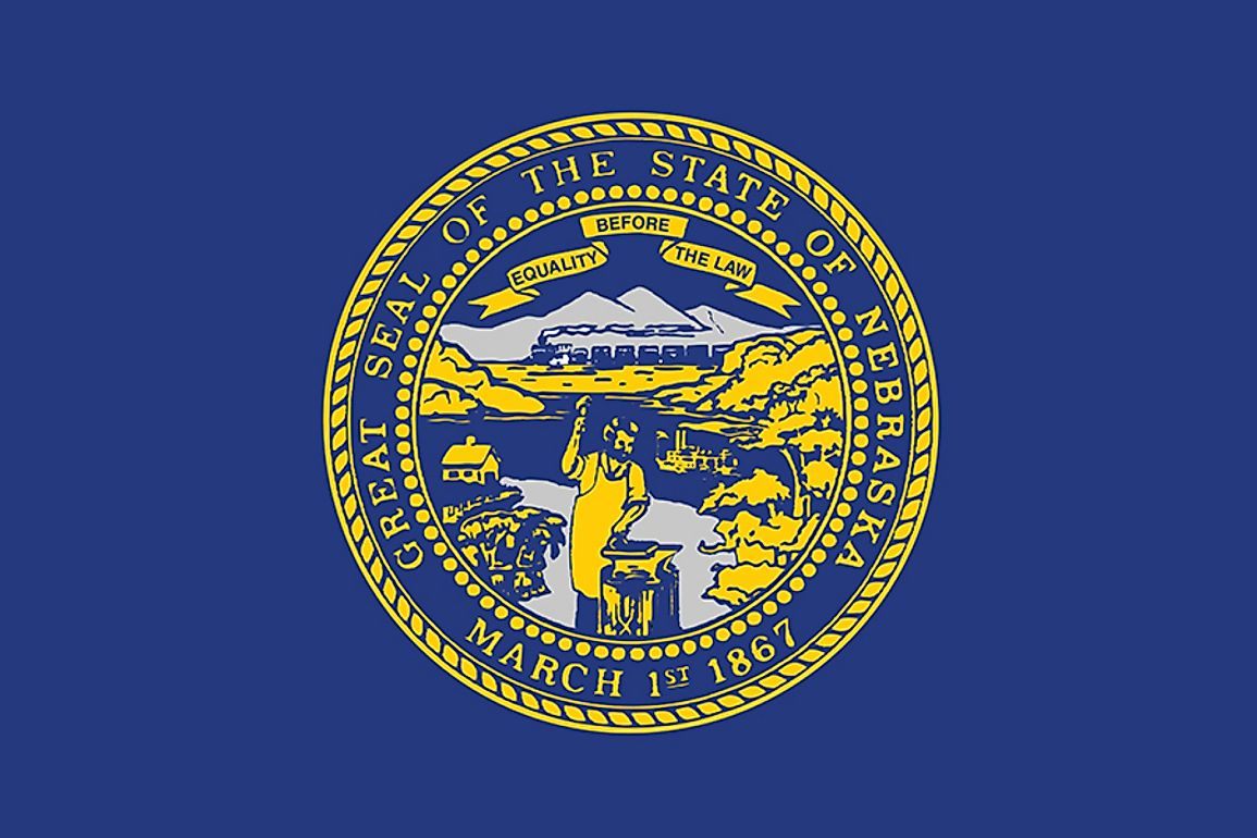 The state flag of Nebraska features the state seal.