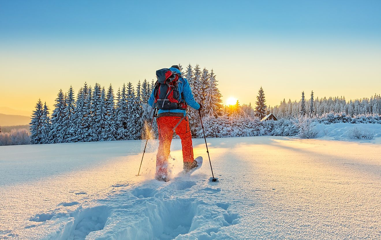 Snowshoe walker running in powder snow with beautiful sunrise light. Image credit: Jag_cz/Shutterstock.com