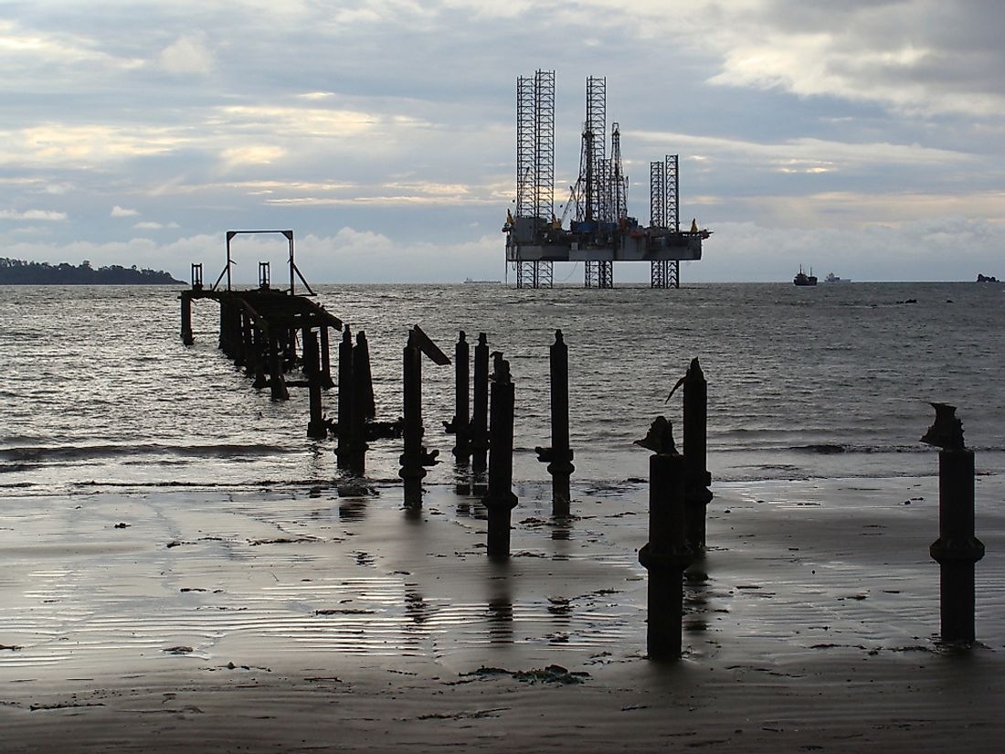 Oil platforms in Cameroon. Editorial credit: Scarabea / Shutterstock.com.