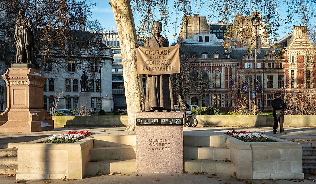 Commemorative statue of Millicent Fawcett in London. Editorial credit: pxl.store / Shutterstock.com
