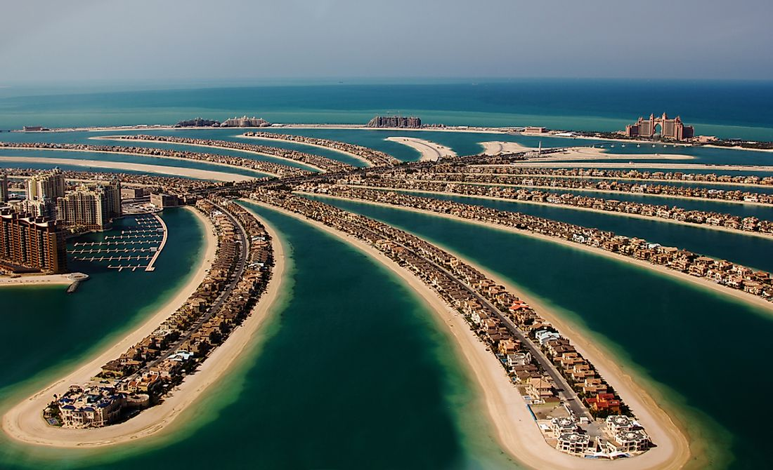 Palm Jumeirah in Dubai, one of the largest artificial islands in the world.