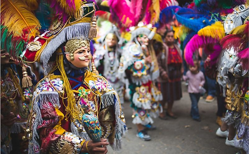 Colorful celebrations at a traditional festival in Chichicastenango, Guatemala.