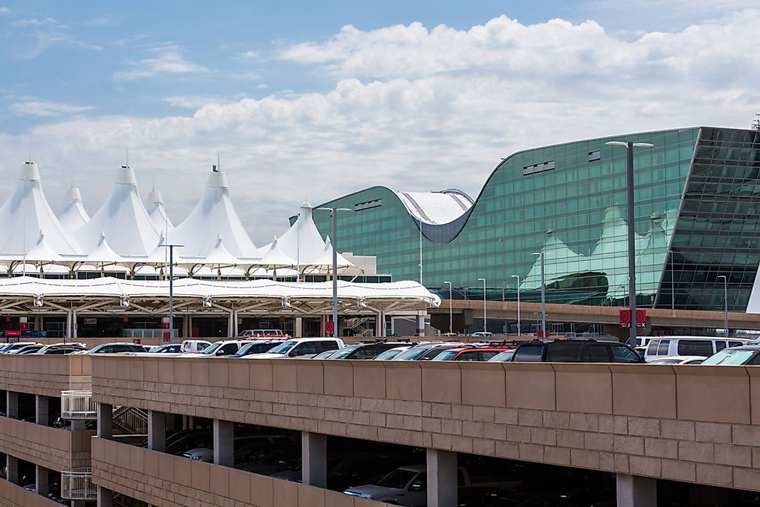 The Denver International Airport is easily recognizable by its peaked roof.  Editorial credit: Arina P Habich / Shutterstock.com