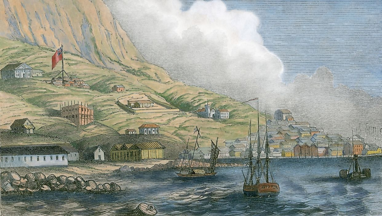 A historical depiction of British sailboats encroaching upon Hong Kong.