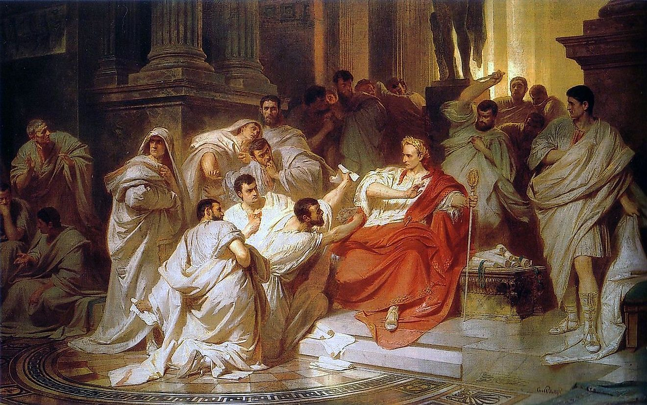 "The Senators and ""Brutes"" attacking Julius Caesar in the ""Temple"" {Temple of Caesar} in 44 BC. Image credit: Karl von Piloty/Public domain"