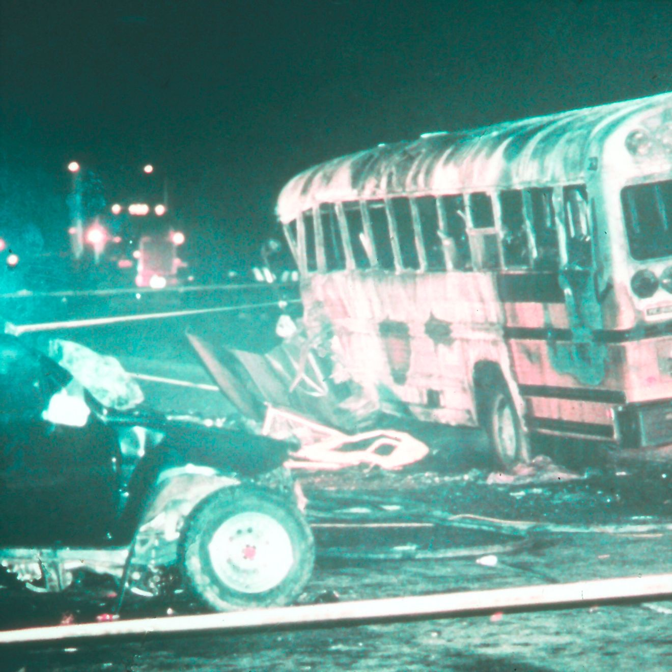 The worst drunk driving accident in U.S. history prompted stricter drinking and driving laws. Twenty-seven students and parents died in this firey crash in 1988, caused by a drunk driver. Image credit: National Transportation Safety Scheme/Flickr.com