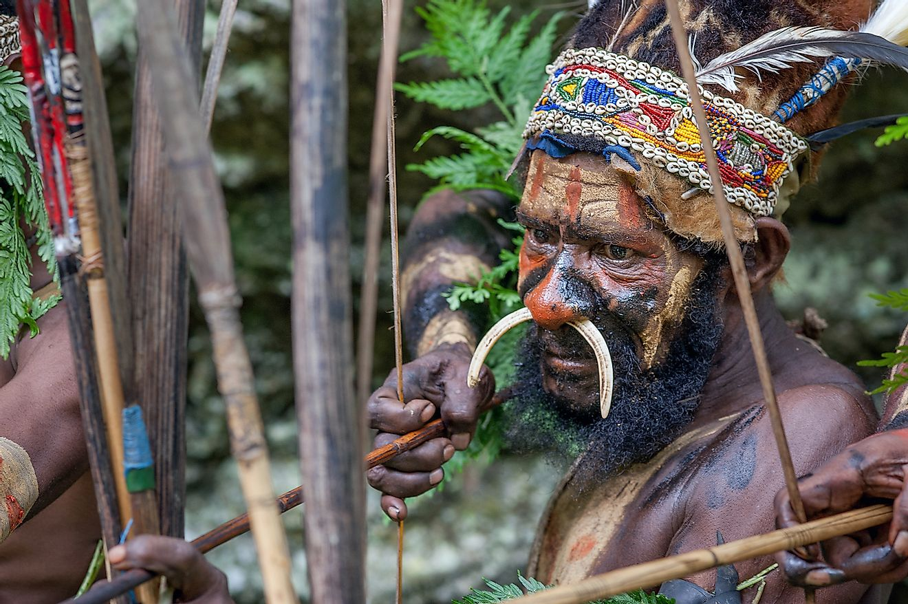 The warrior of a Papuan tribe of Yafi in traditional clothes, ornaments and coloring. Image credit: