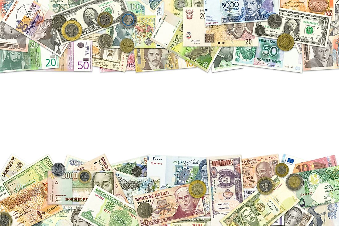 Various world currencies.