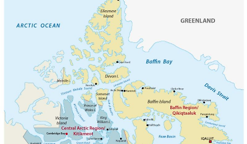A map showing both Baffin Island and Ellesmere Island in Canada.