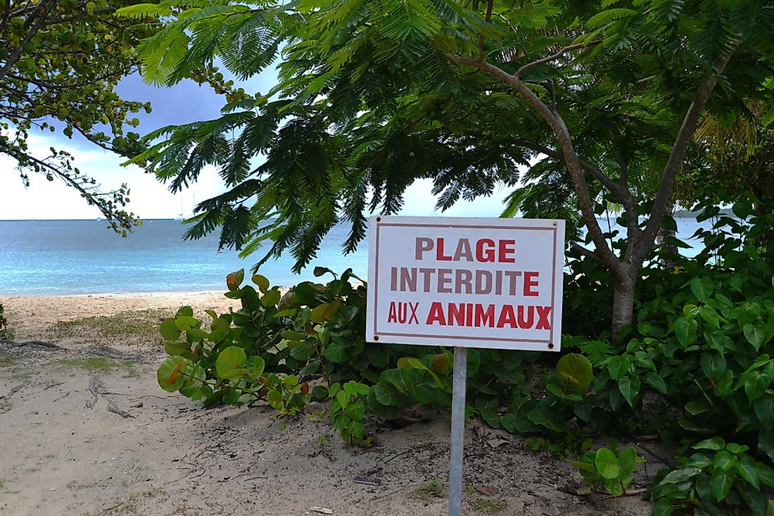A French sign on a beach in Martinique.