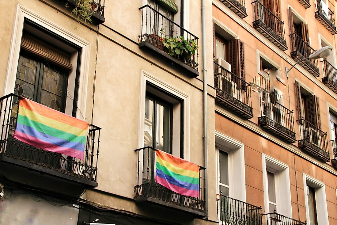 Rainbow flags in Madrid.