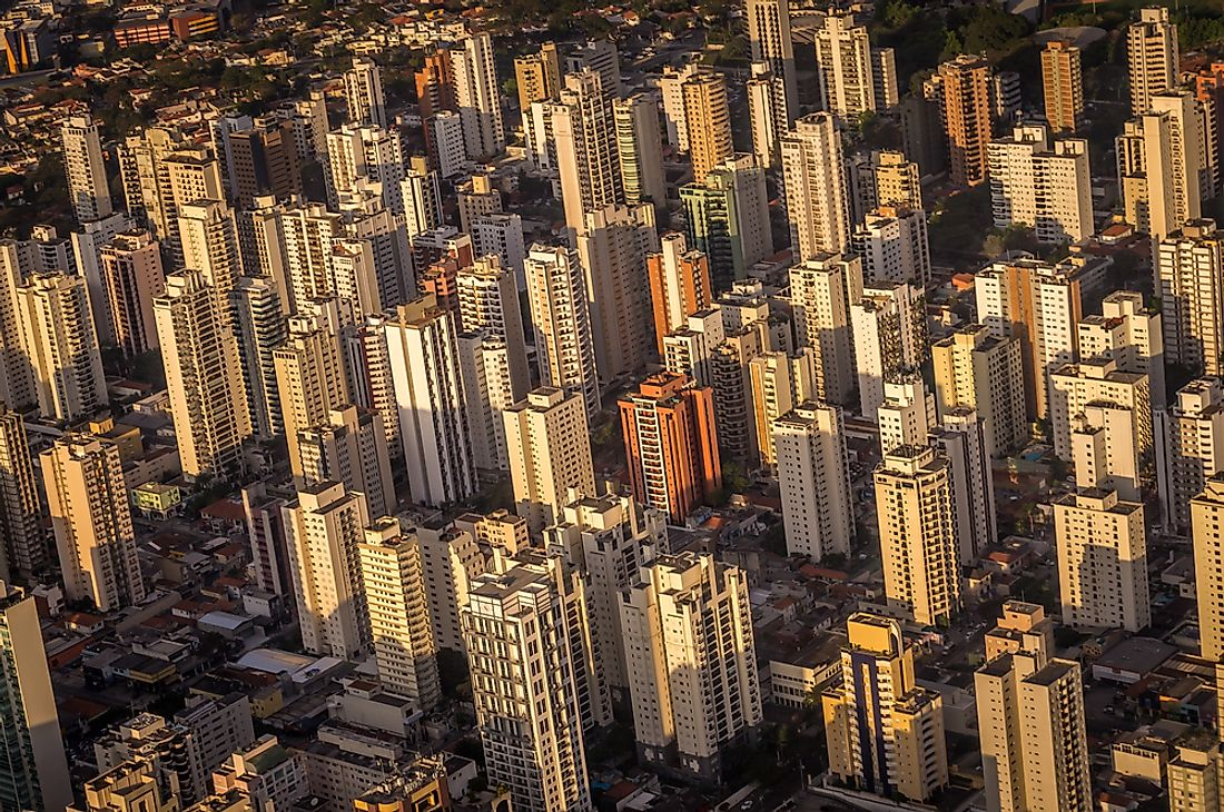 An aerial view of Sao Paulo. More than one of the busiest airports in South America is located in Sao Paulo, Brazil.