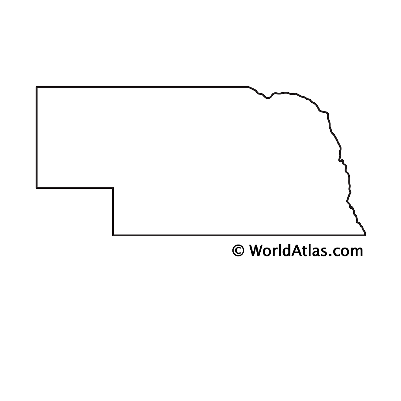 Blank Outline Map of Nebraska