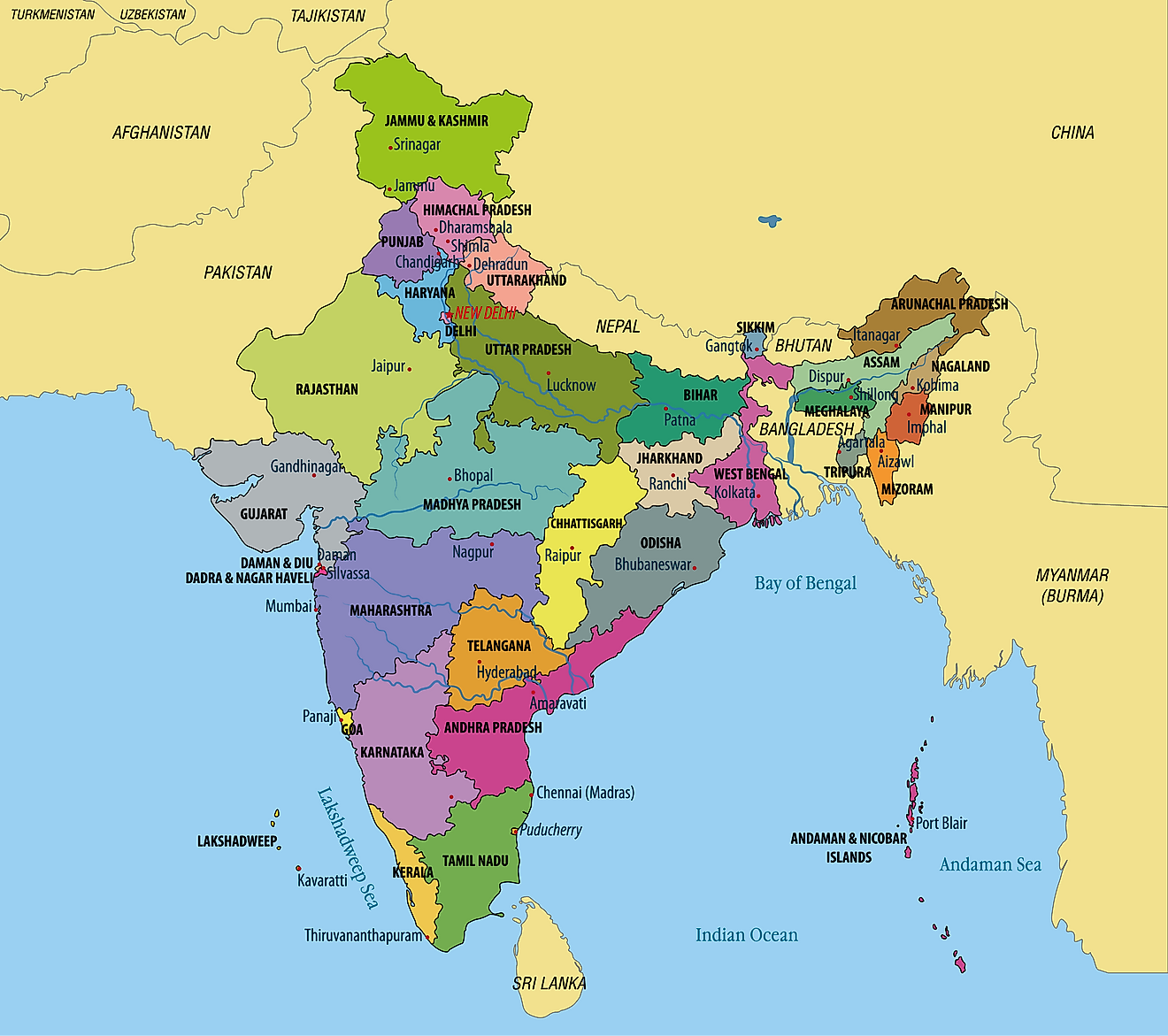 Political Map of India showing its 28 States and 8 Union Territories and the capital city - New Delhi