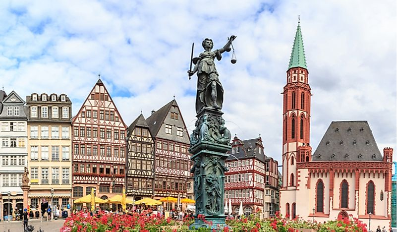 The city square of Frankfurt, Germany. Germany is considered to be part of Central Europe.