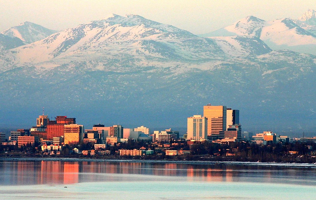 Anchorage in Alaska hosts almost half of the population of Alaska, the least densely populated US State.