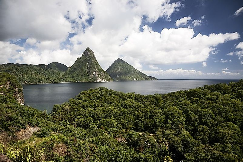 The Piton volcanic cones (center) along Saint Lucia's beautiful coastline.