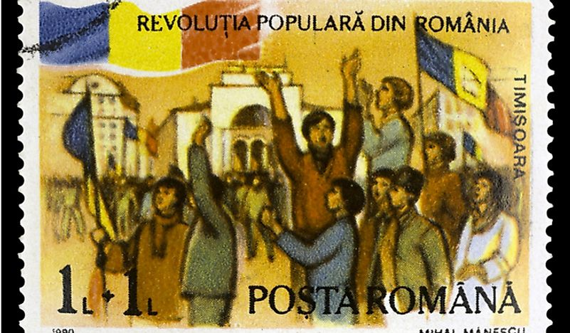 A stamp from Romania commemorates the 1989 Revolution. Editorial credit: Kiev.Victor / Shutterstock.com.