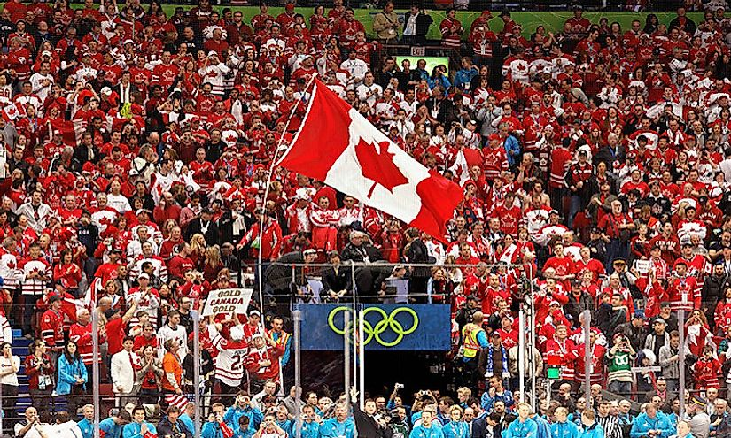 A crowd of Canadians attending a sports event.