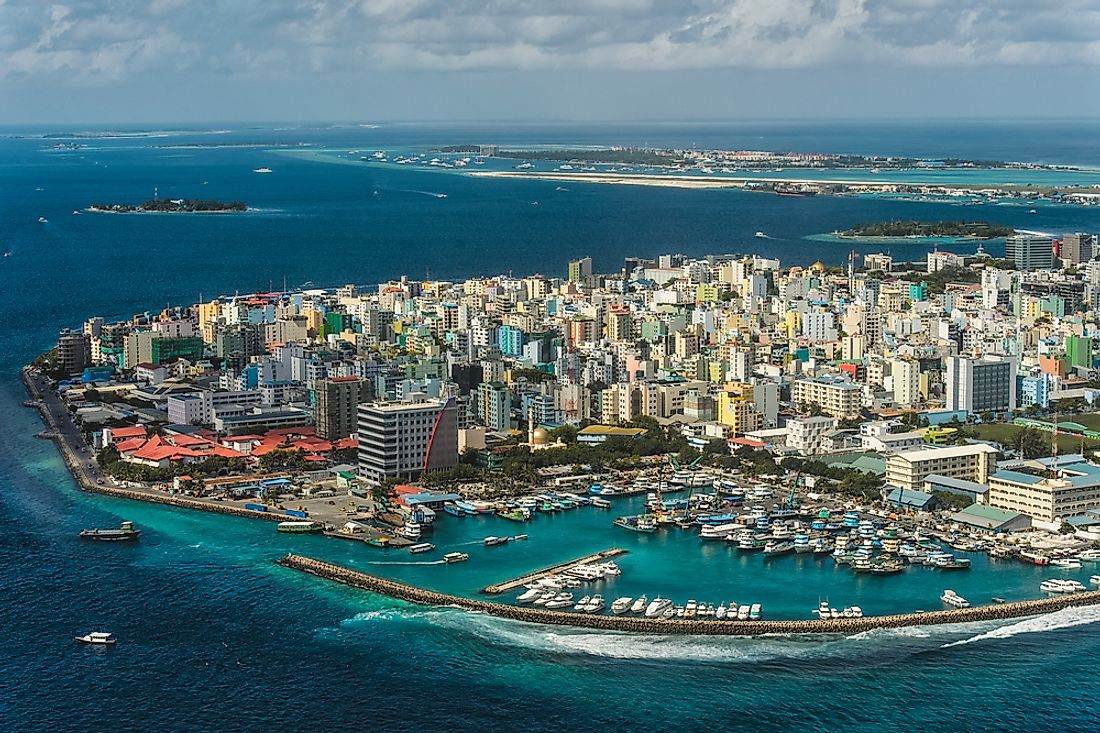 The capital of the Maldives, Male. The Maldives has the highest per capita income in all of South Asia.