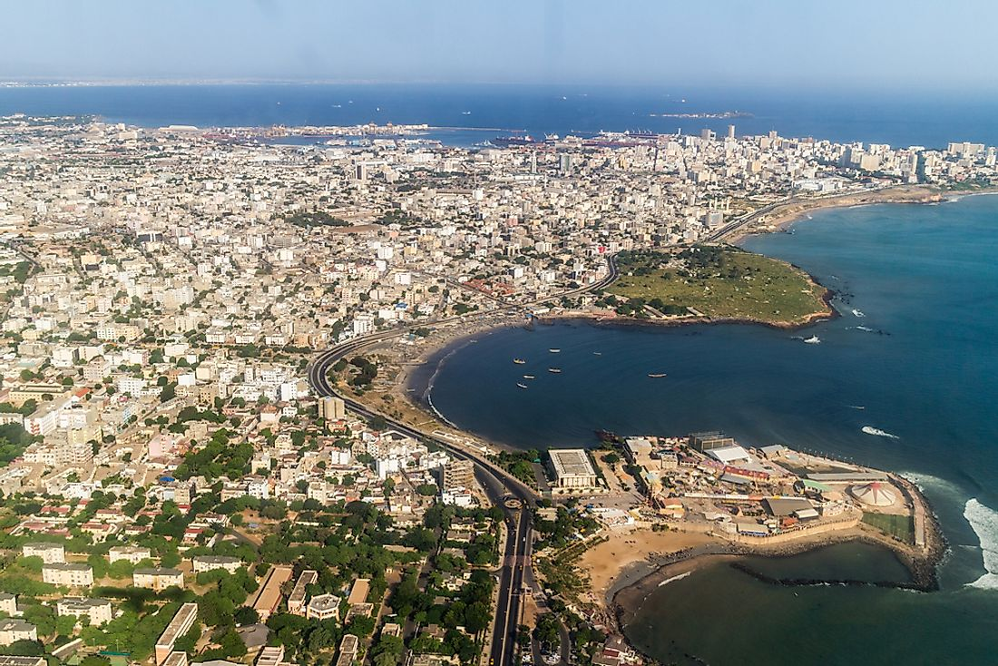 The city of Dakar sits on the Atlantic coast.
