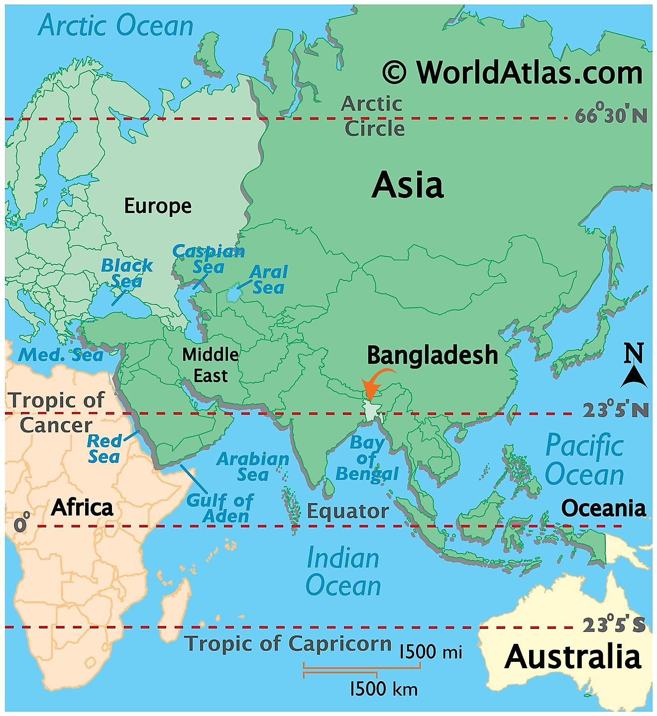 Map showing location of Bangladesh in the world.
