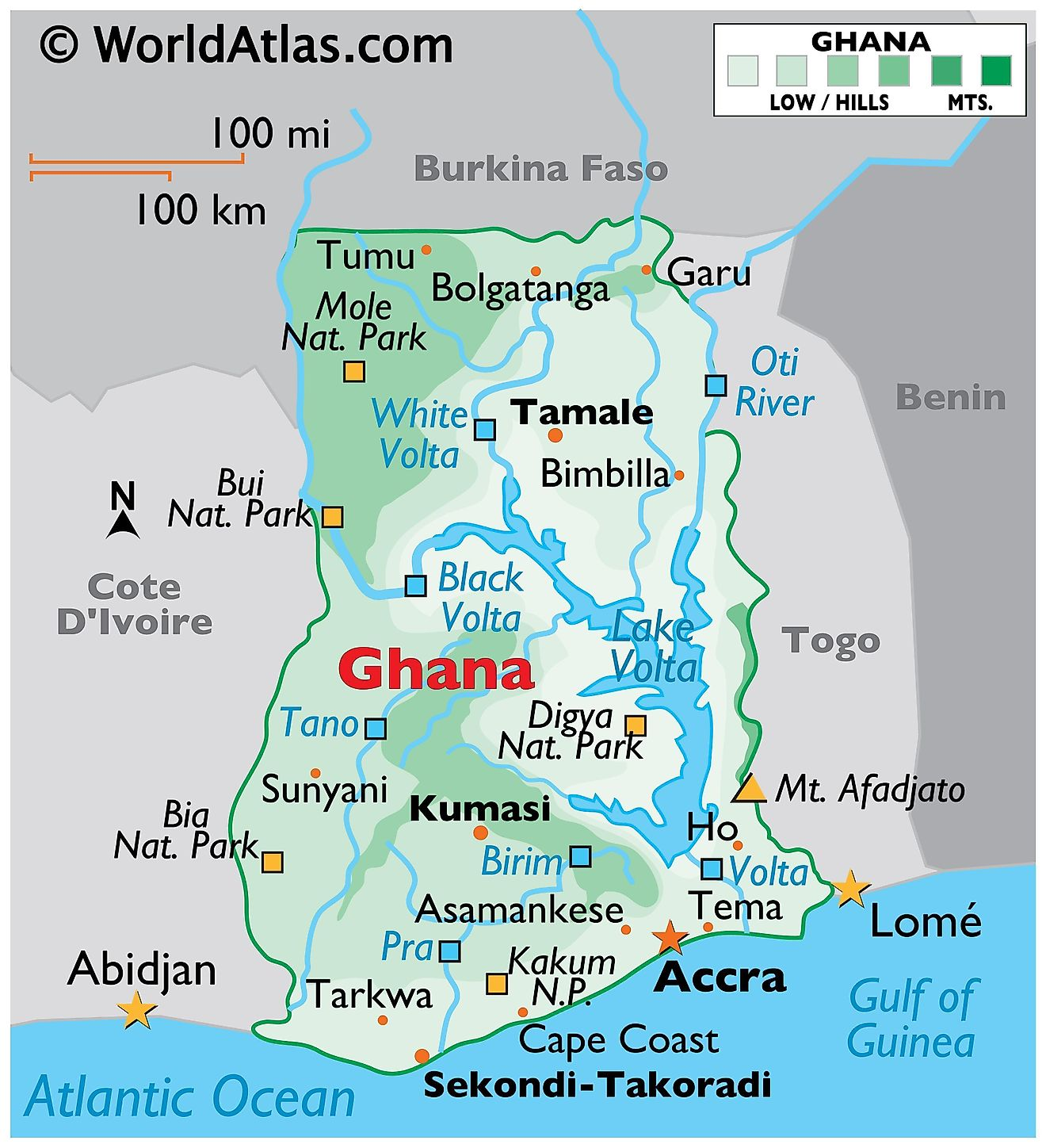 Physical Map of Ghana displaying the state boundaries, terrain, Lake Volta, extreme points, important cities, and more.
