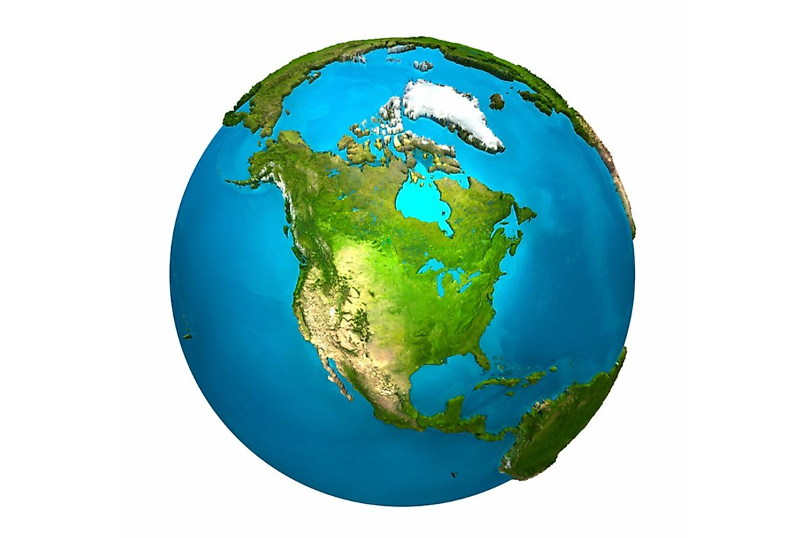 The North American continent is bordered by the Arctic Ocean to the north, the Atlantic Ocean to the east, and the Pacific Ocean to the west.