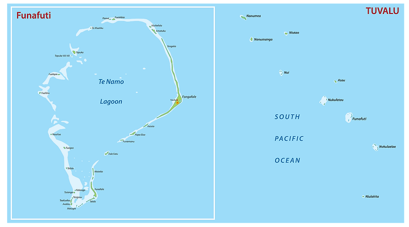 Map of Tuvalu showing its major islands and the capital atoll - Funafuti