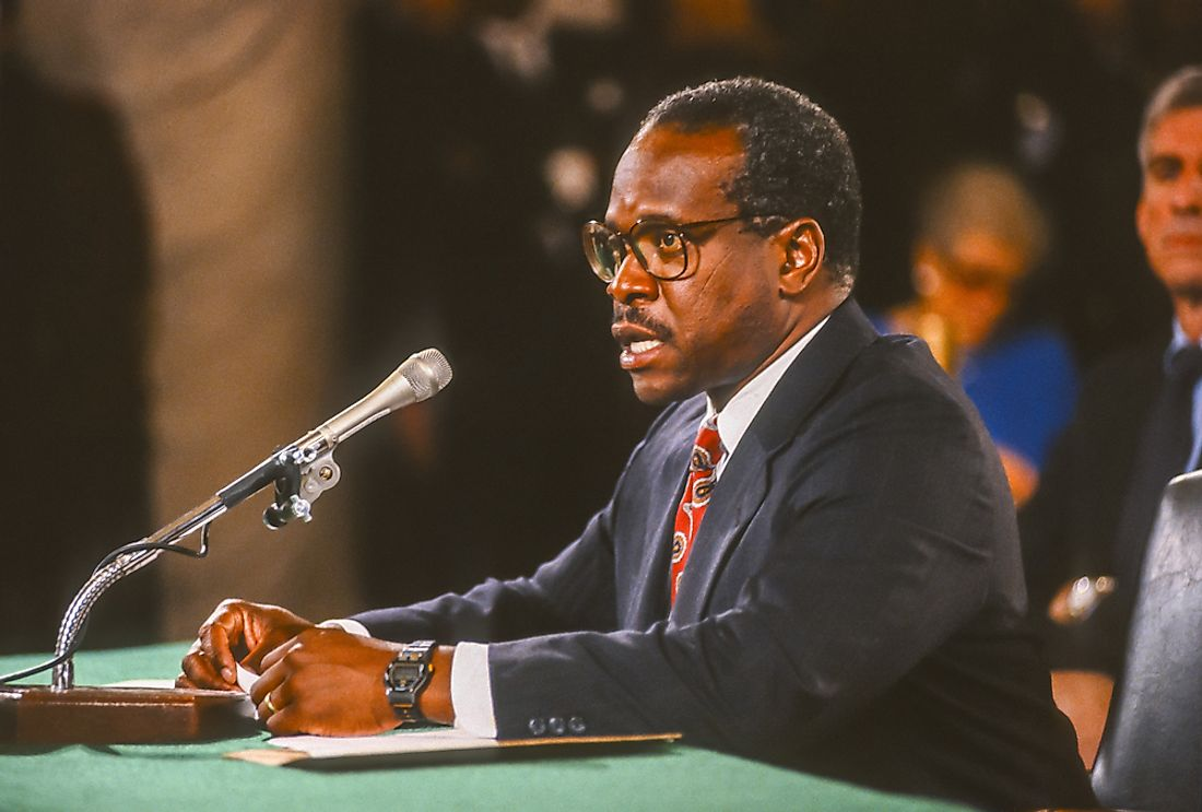 Justice Clarence Thomas underwent 25 hours of Senate Judiciary Committee questioning before being confirmed. Editorial credit: Rob Crandall / Shutterstock.com.