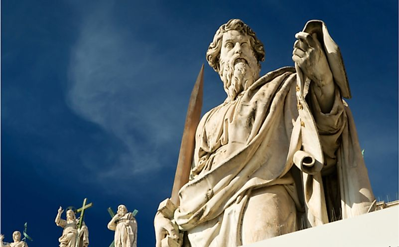 Statue of Apostle Paul in front of the St Peter's Basilica, Rome, Italy.