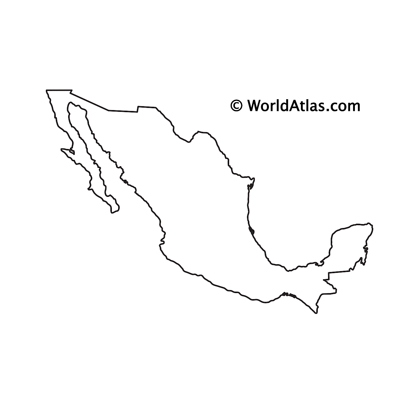 Blank Outline Map of Mexico