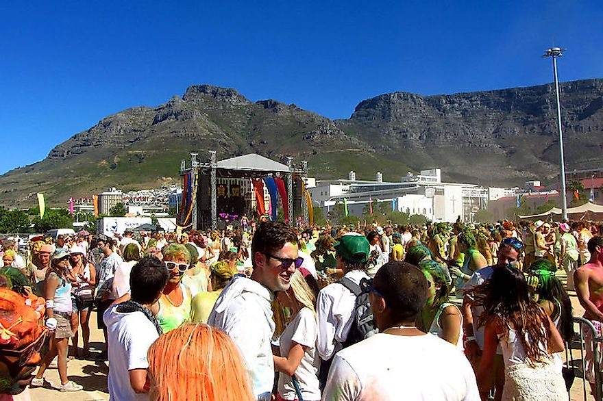 Celebration of the Hindu festival of Holi in South Africa, a secular and multicultural country in Africa.