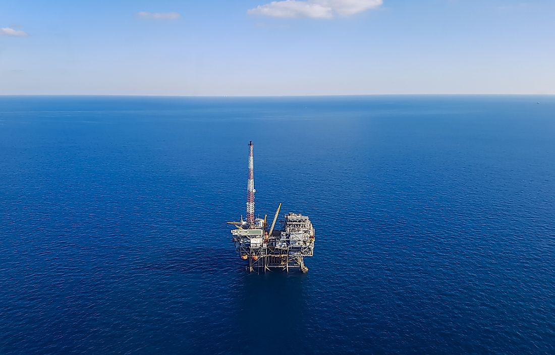 An oil platform in the Gulf of Mexico.