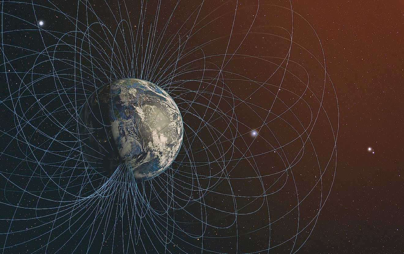 `3D rendering of Planet Earth's magnetic field. Elements of this image furnished by NASA. Image credit:  Janez Volmajer/Shutterstock.com