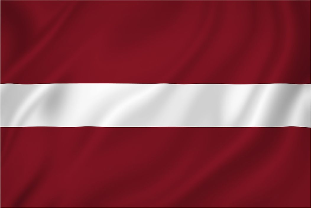 The flag of Latvia.