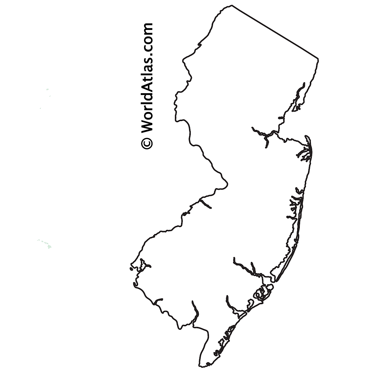 Blank Outline Map of New Jersey