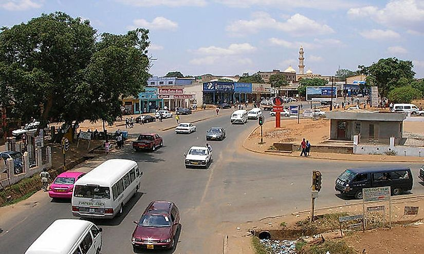 A street scene in Lilongwe, the capital and largest city of Malawi.