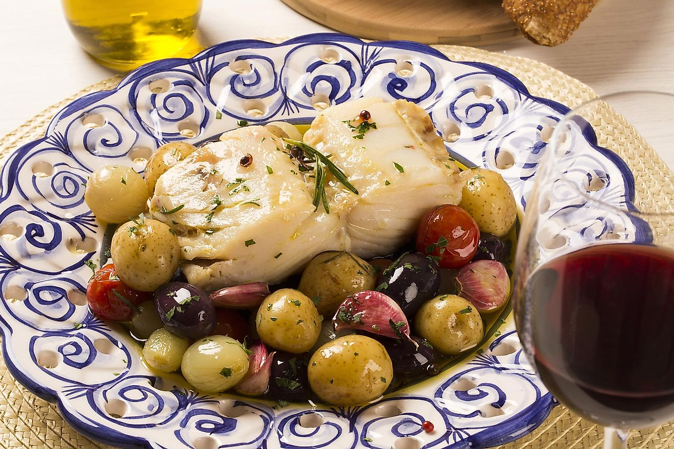 A typical Portuguese dish with codfish called Bacalhau do Porto. Image credit: Paulo Vilela/Shutterstock.com