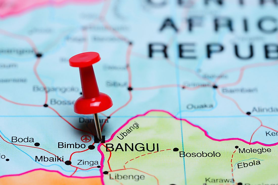 Bangui sits on the banks of the Ubangi River bordering the Democratic Republic of the Congo.