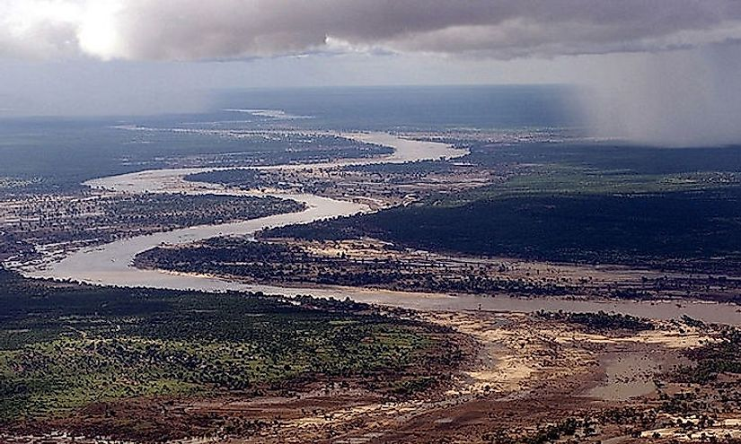 Aerial view of the Limpopo River as it winds its way through southern Mozambique.