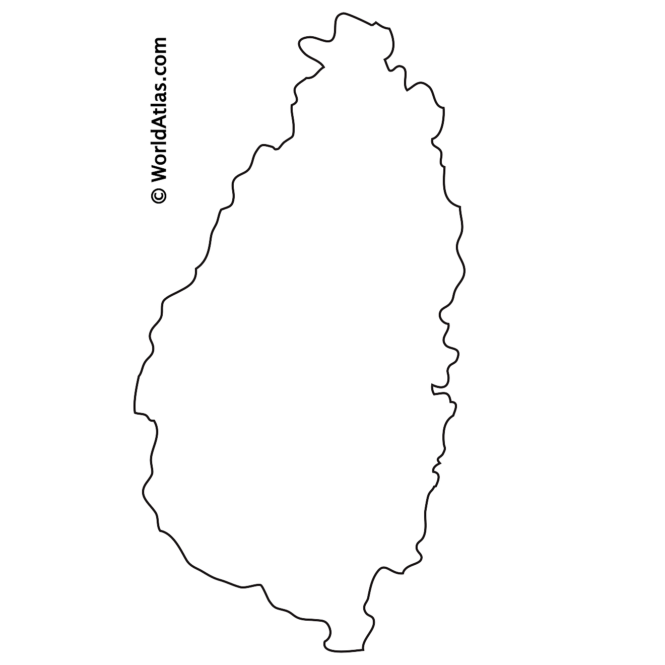 Blank Outline Map of Saint Lucia