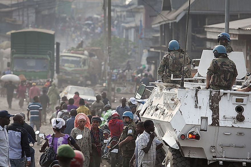 Armored vehicles patroling streets of Goma, DRC, for civil protection: Lack of safety and security discourages new businesses in the country.
