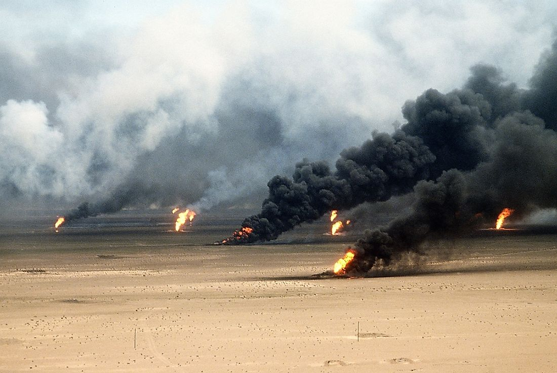 Retreating Iraqi forces set on fire over 600 Kuwaiti oil wells causing massive environmental and economical damage in Kuwait.