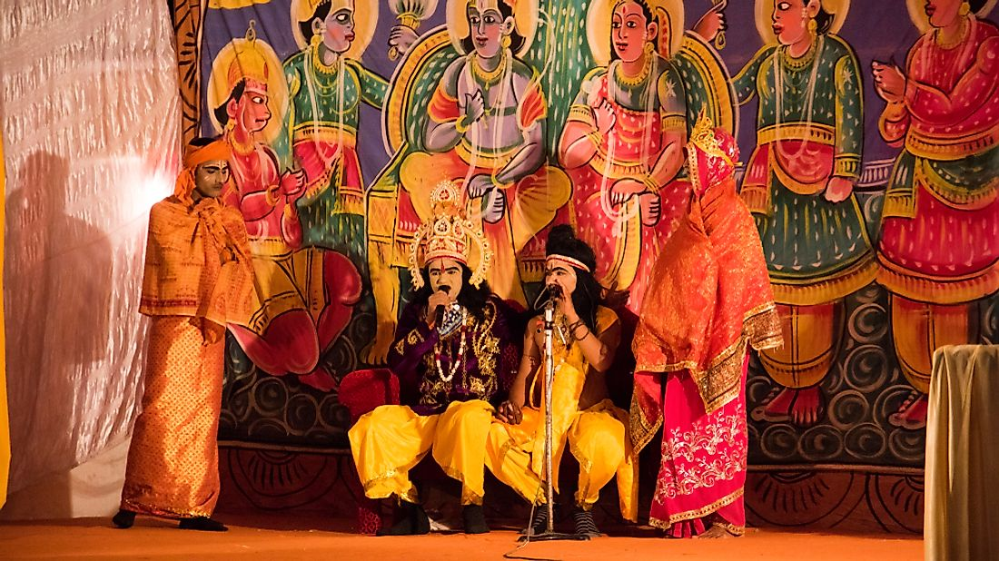 Ramlila is a theatrical representation of Ramayana, a mythological story of India, and is a UNESCO-inscribed intangible cultural heritage. Editorial credit: CRS PHOTO / Shutterstock.com.