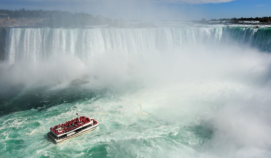 Tourists get an up close view of Niagara Falls in Ontario.