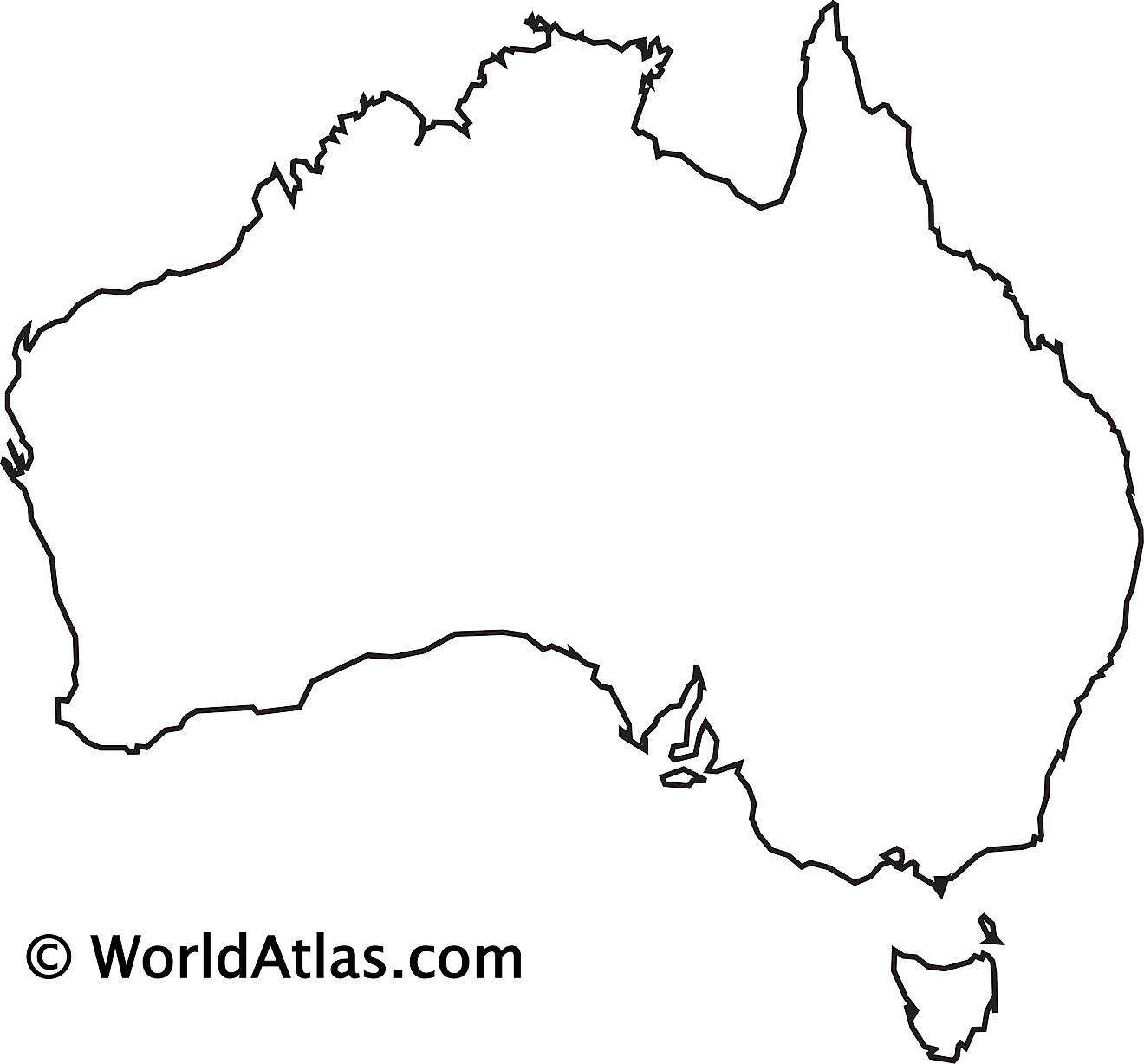 Blank outline map of Australia