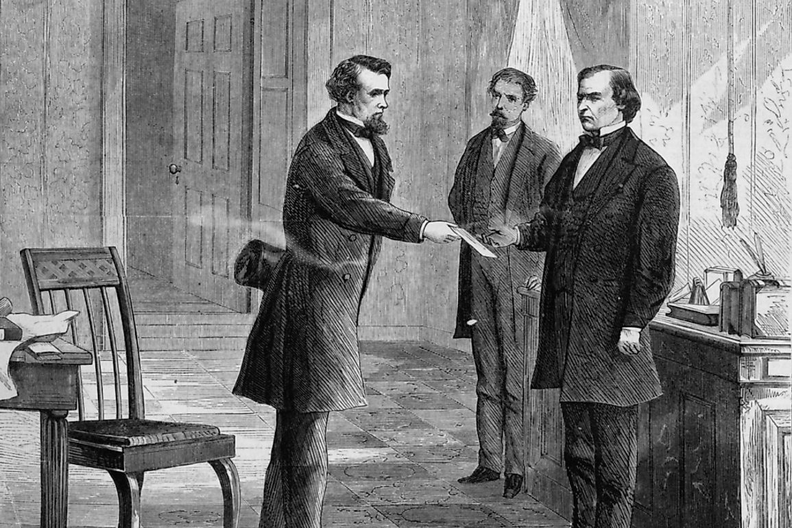 President Andrew Johnson being served impeachment summons by George T. Brown. Editorial credit: Everett Historical / Shutterstock.com