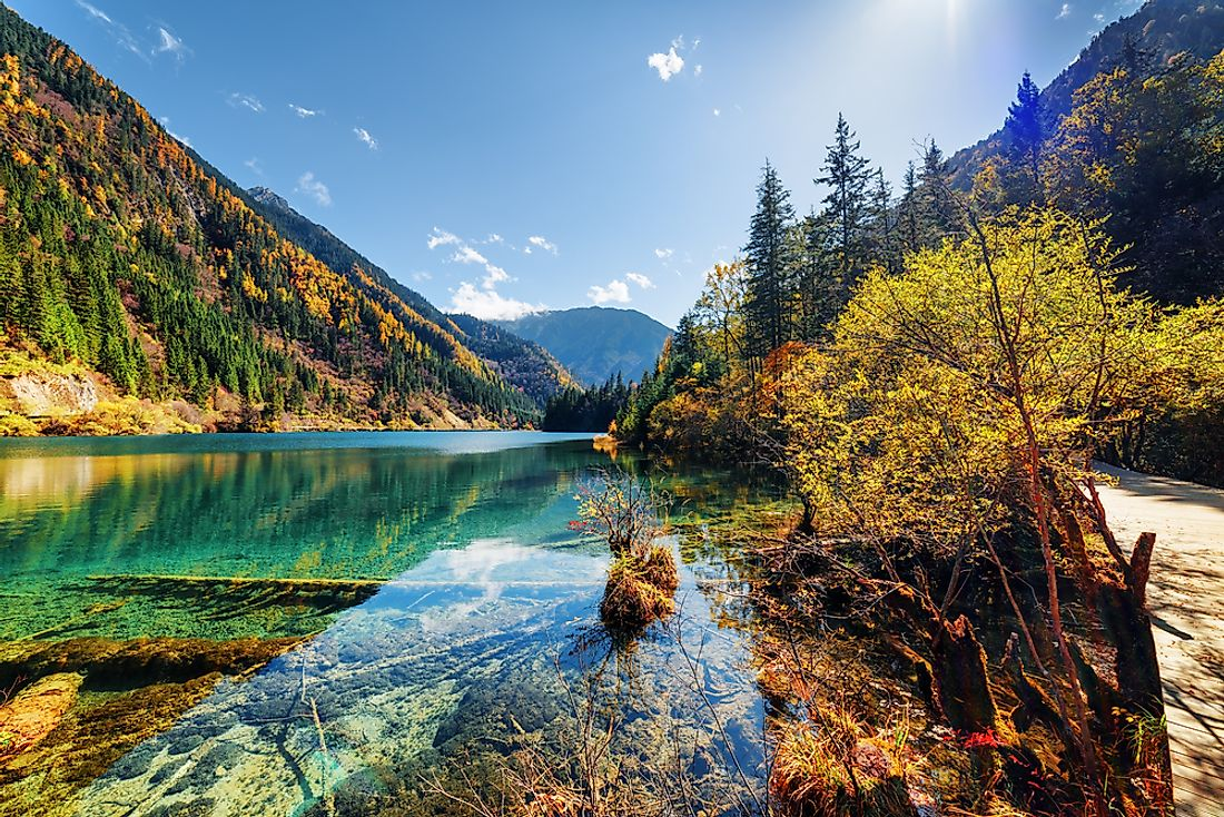The landscape of Jiuzhaigou National Park in China.