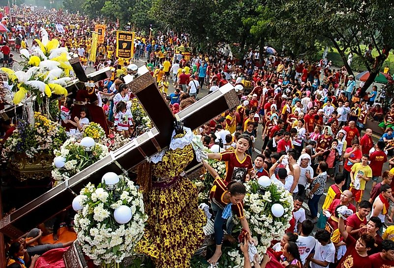 Every January, millions participate in the Translacion Black Nazarene Parade in Manila, Philippines.